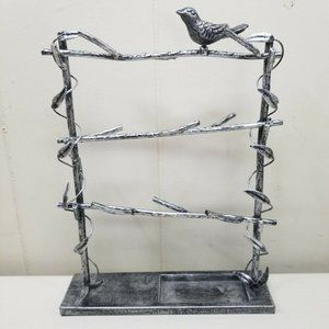 Metal Bird Branch Jewelry Holder Stand Freestandin